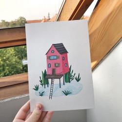 Pink lake house